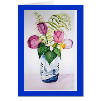 """Tulips in Delft Vase"" Card"