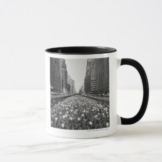 Tulips in middle of city street mug