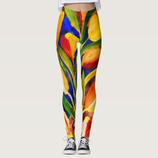 Tulips in spring close up artwork leggings