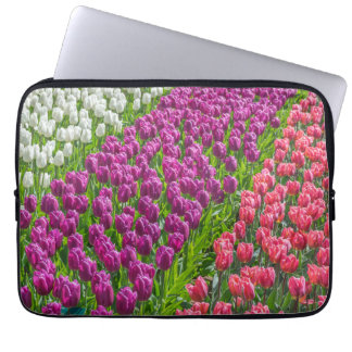 Tulips in three colours laptop sleeve