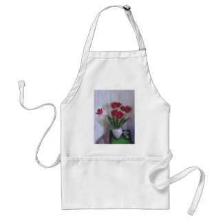 Tulips in vase aprons