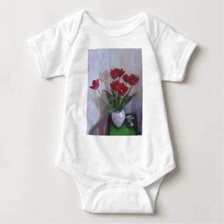 Tulips in vase baby bodysuit