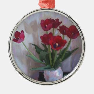 Tulips in vase christmas ornament