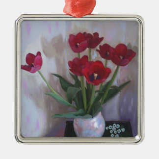 Tulips in vase christmas ornament