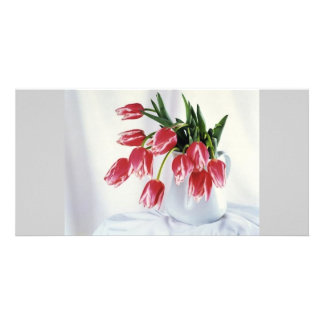 tulips in vase picture card