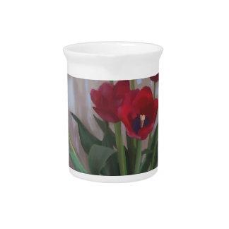 Tulips in vase pitcher