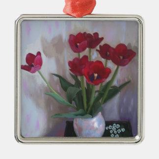 Tulips in vase Silver-Colored square decoration