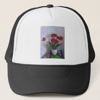 Tulips in vase trucker hat