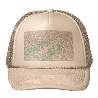 Tulips Khaki Hand Drawing Hat