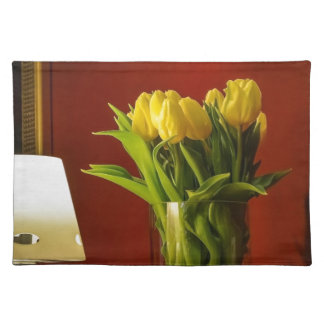 Tulips, lamp and red room placemat