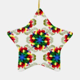 Tulips Mandala Design Christmas Ornament