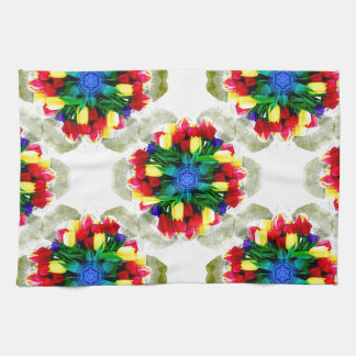 Tulips Mandala Design Tea Towel