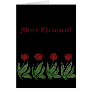Tulips Merry Christmas Greeting Card