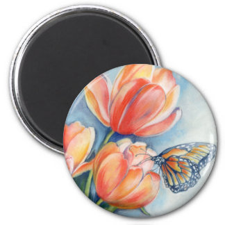 Tulips & Monarch Butterfly Refrigerator Magnet
