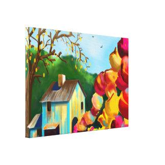 """""""Tulips Near the Barn"""" Art On Canvas"""