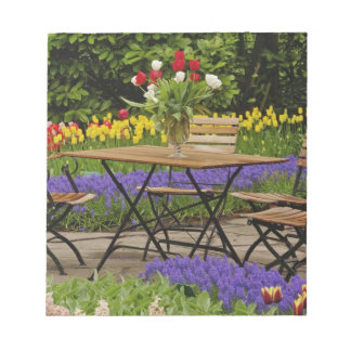Tulips of table in garden, Keukenhof Gardens, Notepad