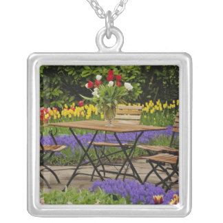 Tulips of table in garden, Keukenhof Gardens, Silver Plated Necklace