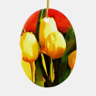 Tulips (Oil Paint Style) Ceramic Oval Decoration