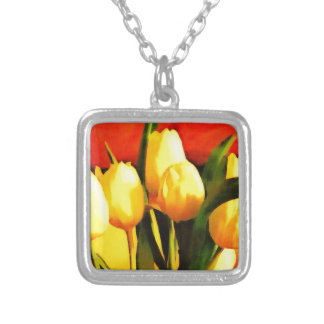 Tulips (Oil Paint Style) Square Pendant Necklace