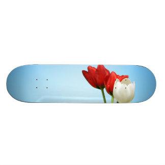Tulips on Blue Background Custom Skateboard