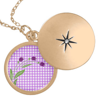 Tulips On Purple Check Background Necklaces