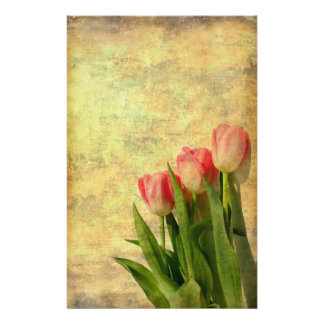 Tulips On Vintage Paper Flyer