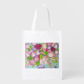 Tulips Overflowing on White Reusable Grocery Bag