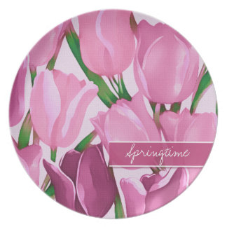 Tulips Painting. Custom Text Gift Melamine Plates
