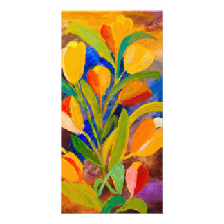 Tulips painting in acrylic card