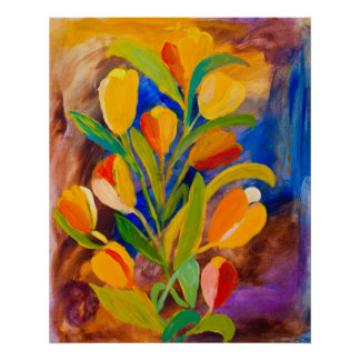 Tulips painting in acrylic poster