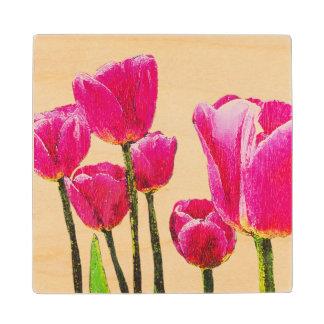 Tulips Painting on Maple Wood Coaster