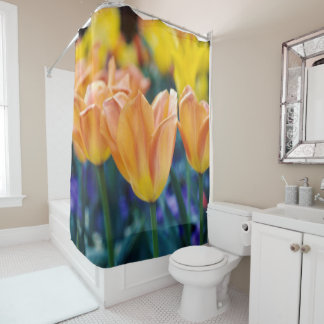 Tulips Peach Yellow & Purple Floral Shower Curtain
