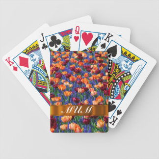 Tulips personalized mom bicycle playing cards