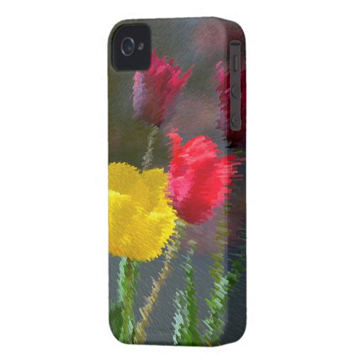 Tulips polychrome flowering, photo extrudes,