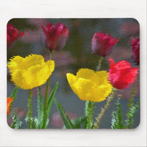 Tulips polychrome flowering, photo extrudes, mousepad