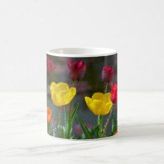 Tulips polychrome flowering, photo extrudes, mugs