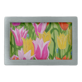 Tulips Rectangular Belt Buckle