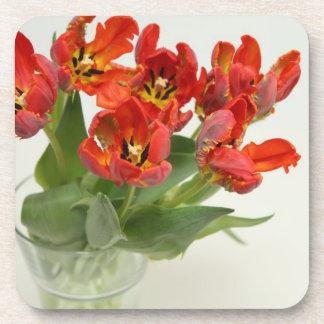 Tulips red beverage coaster