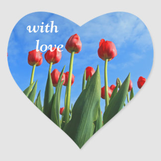 Tulips red flowers beautiful with love stickers