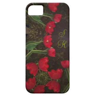 Tulips red with SH initials iphone cover