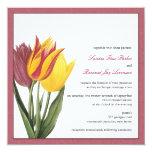Tulips Rose Border Wedding Invitation