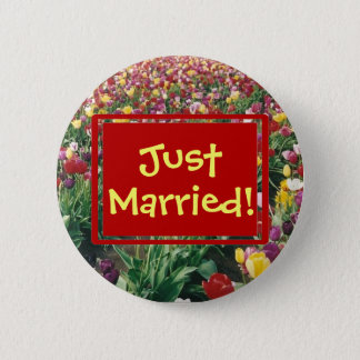 Tulips Round Just Married Button
