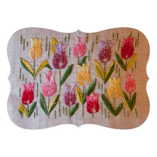 Tulips vintage embroidery announcement