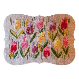 "Tulips vintage embroidery 5"" x 7"" invitation card"