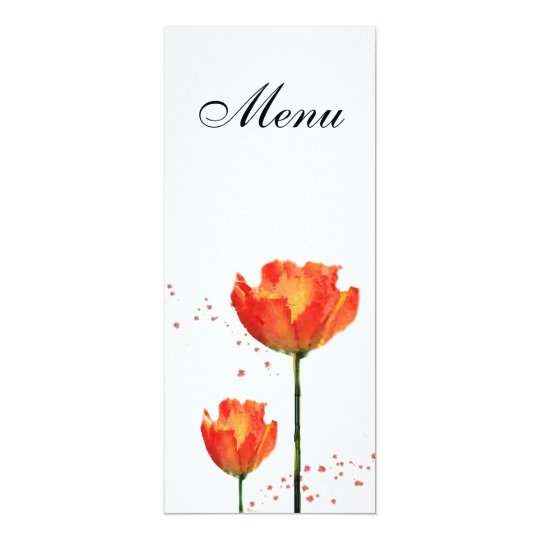 Tulips Watercolor Wedding Menu Card