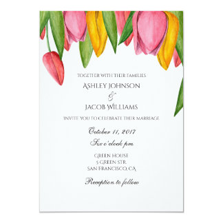 Tulips wedding invitation. Floral spring invites