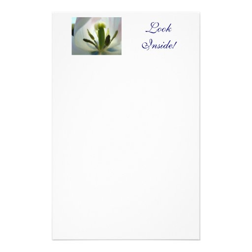 Tulips White Blue Tulip Stationery LOOK INSIDE!