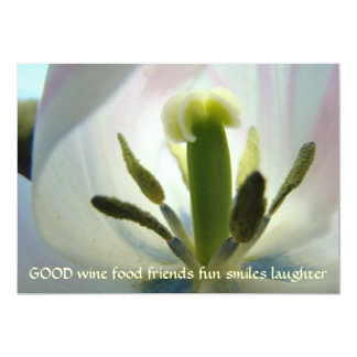 """Tulips Wine Food Friends Fun Smiles Laughter Cards 5"""" X 7"""" Invitation Card"""