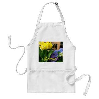 Tulips Yellow Blue Hydrangea Standard Apron