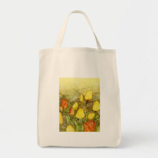 Tulips Yellow Orange Grocery Tote Bag